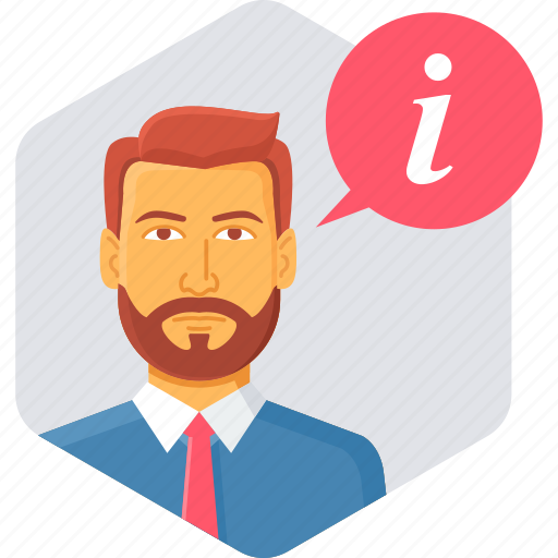 customer, executive, faq, information, man, support icon