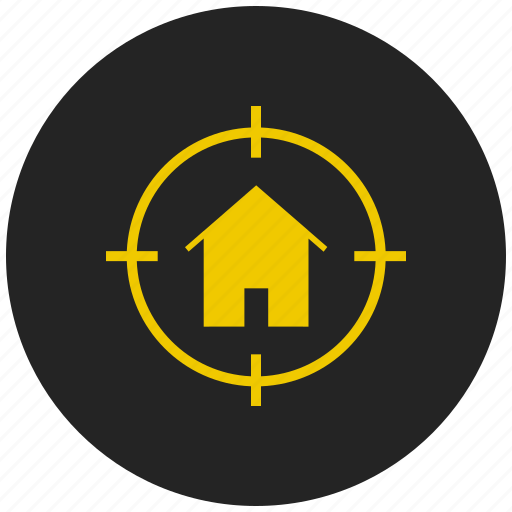building, cottage, home, home button, homepage, property, target icon