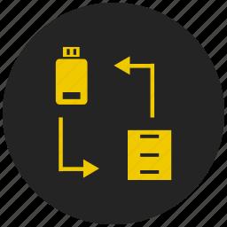 adaptive, computer, data transfer, interface, pendrive, usb icon