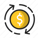 business, finance, money, reload, top, up icon