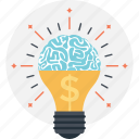 brain, creativity, dollar, finance, idea icon