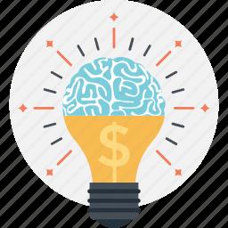 brain, creativity, dollar, finance, idea icon