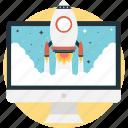 missile, monitor, rocket, startup, web icon