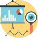 analytics, lecture, magnifier, pie, presentation icon