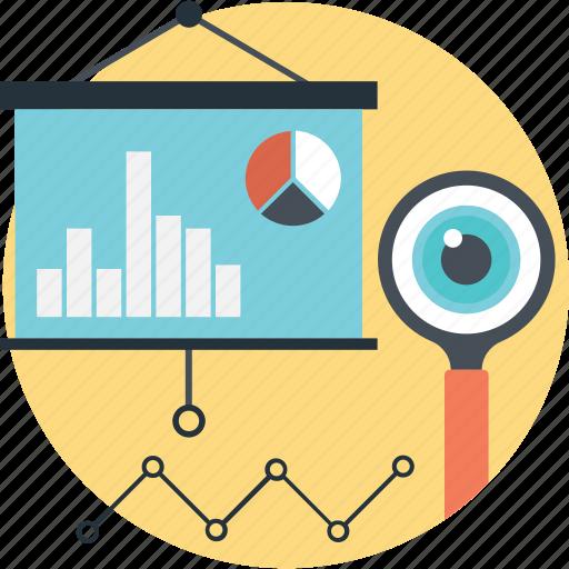 Analytics, lecture, magnifier, pie, presentation icon - Download on Iconfinder