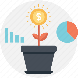 bar, dollar, growth, pie, plant icon