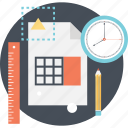 budget, calculator, clock, planning, ruler icon