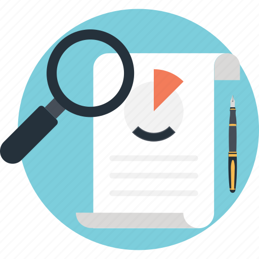 find, magnifier, market research, pie, sheet icon