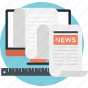 corporate news, newsblog, newspaper, print media, ruler icon