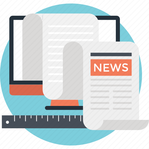 corporate news, newsblog, newspaper, print media, ruler icon