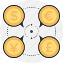 converter, currency, dollar, euro, money exchange icon
