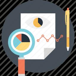 data analysis, graph, pencil, pie, sheet icon
