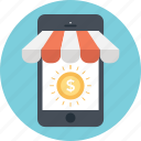 dollar, m commerce, mobile commerce, payment, smartphone icon