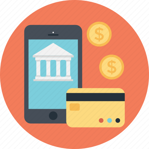 building, card, dollar, mobile banking, smartphone icon