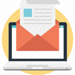 email, laptop, newsletter, paper, sheet icon