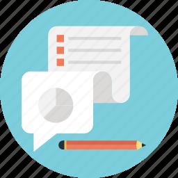 customer survey, graph, pie, sheet, statistics icon