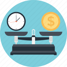 dollar, equity, time is money, timer, trade icon