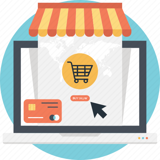 cart, credit card, e commerce, laptop, online shopping icon