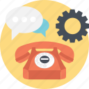 chat, communication, customer service, settings, telephone icon