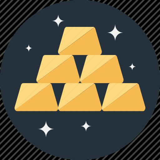 gold, gold bars, ingots, reserve, treasure icon