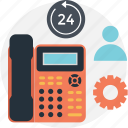 cog, customer service, full service, landline, phone icon