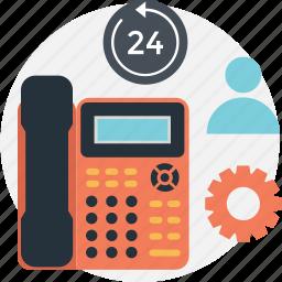 cog, customer service, full service, landline, phone icon