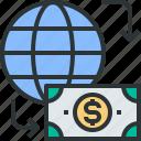 banking, flow, funance, globe, money, money flow icon, payment icon