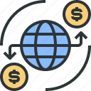 economics, finance, globe, international, marketing, money, world icon