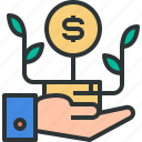 coin, finance, financial, hands, money, payment, saving icon