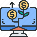 bank, banking, computer, finance, growth, investments, money icon