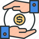 coin, coins, credit, hands, loan, money, money icon icon