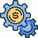 cogwheels, coin, gears, money, money icon, options, setting icon