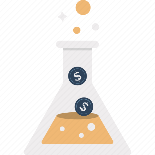 beaker, dollar sign, filter money, investment, investment lab, money in lab, science icon