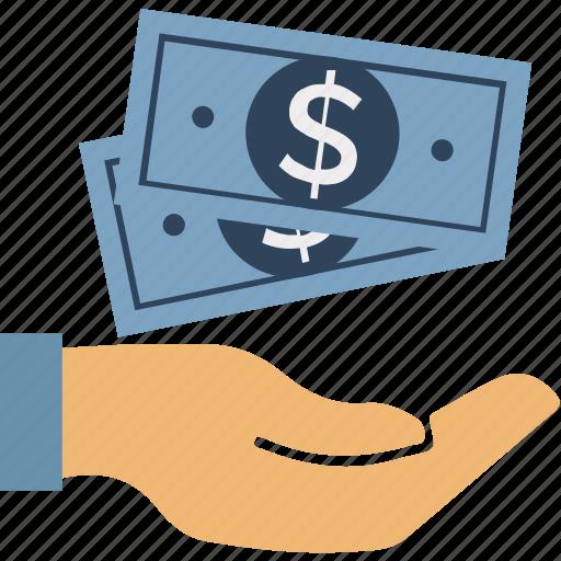 dollar, dollar in hand, money, paper money, protection money, saving, usd icon