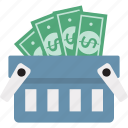 banknote in basket, basket, money basket, money in basket, shopping, shopping basket icon