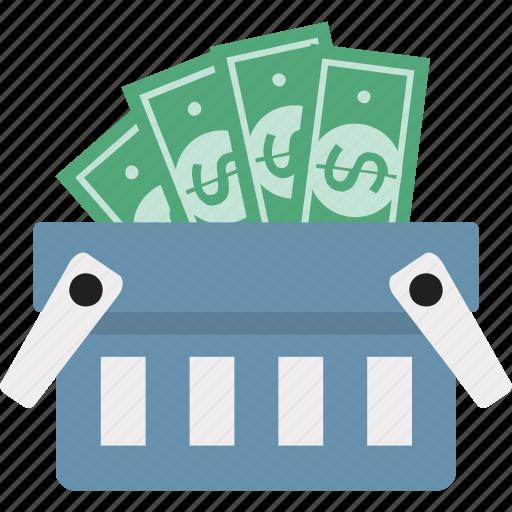 banknote in basket, basket, money basket, money in basket, shopping, shopping basket icon