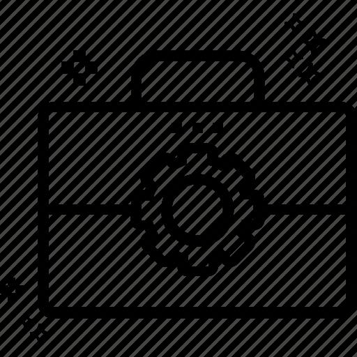 cog, edit portfolio, garage tools, portfolio, repair tools, tool kit, tools bag icon