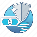 banking, business, finance, money, payment, security, shield icon