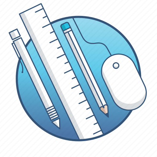 equipment, graphic, mouse, pen, pencil, ruler, tool icon