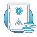 bank, business, dollar, finance, financial, money, safe icon