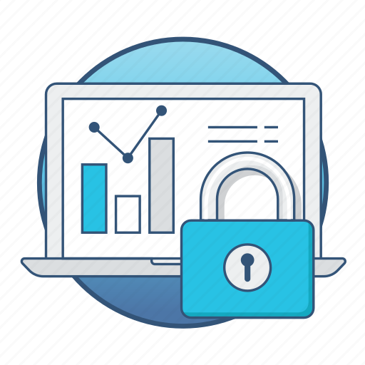 business, chart, data, graph, laptop, lock, security icon