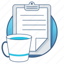 business, clipboard, coffee, cup, document, mug, office icon