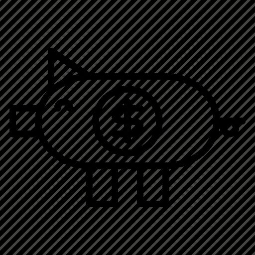 business, dollar, finance, money, pig, saving icon