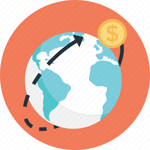 business, dollar, finance, globe, worldwide icon