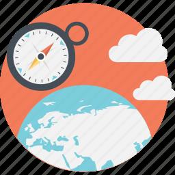 compass, globe, navigation, trends, worldwide icon