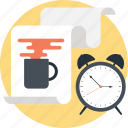 break time, paper, sheet, task, timepiece icon