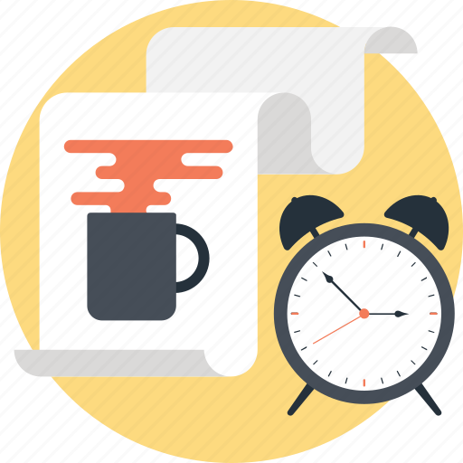 break time, paper, sheet, task, timepiece icon