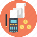 budget, business, calculator, finance, pencil icon
