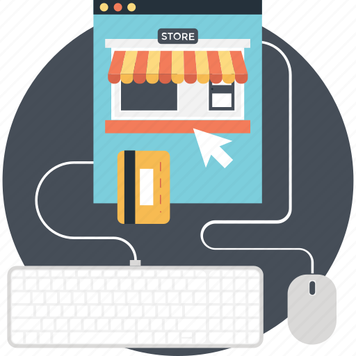 credit card, ecommerce, mouse, shopping, web store icon