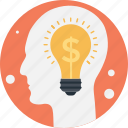 bulb, business idea, dollar, innovation, mind icon